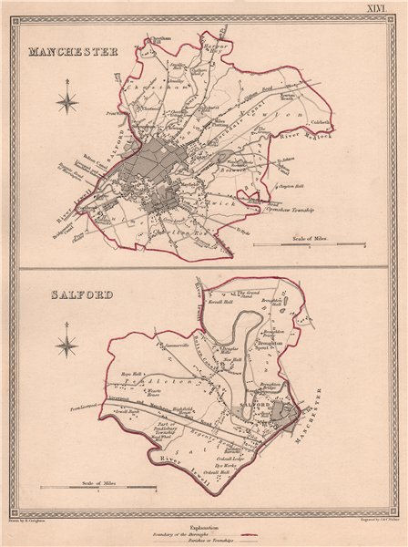 Associate Product MANCHESTER & SALFORD. Town city borough plans. Lancs. CREIGHTON/WALKER 1835 map