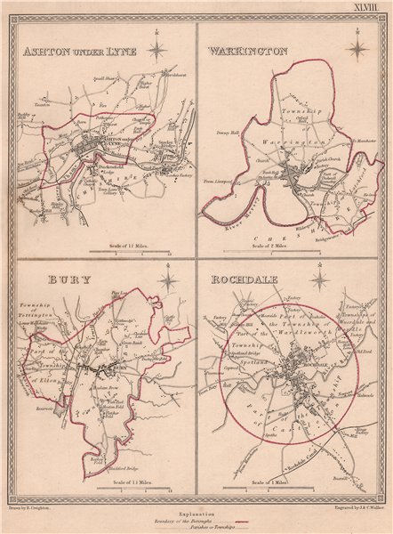 Associate Product LANCASHIRE TOWNS. Ashton-under-Lyne Warrington Bury Rochdale.CREIGHTON 1835 map