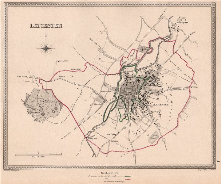 Associate Product LEICESTER town & borough plan. Leicestershire. CREIGHTON/WALKER 1835 old map