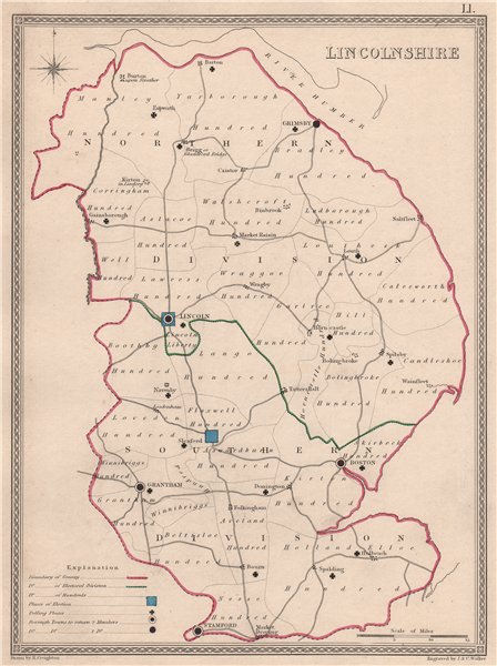 LINCOLNSHIRE antique county map by CREIGHTON/WALKER. Electoral 1835 old
