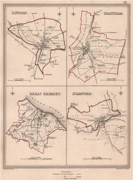Associate Product LINCOLNSHIRE TOWNS. Lincoln Grantham Grimsby Stamford.CREIGHTON/WALKER 1835 map
