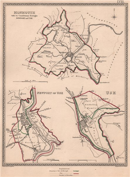 Associate Product MONMOUTHSHIRE TOWNS. Monmouth Newport Usk plans. CREIGHTON/WALKER 1835 old map