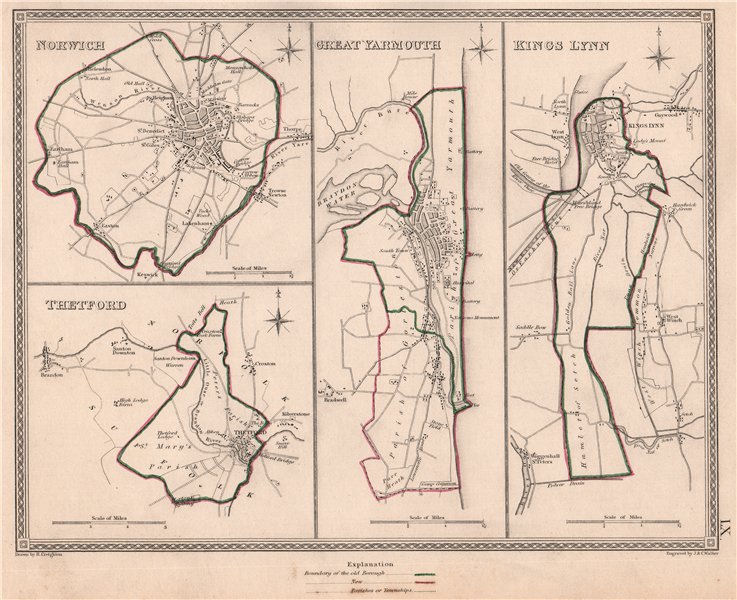 Associate Product NORFOLK TOWNS. Norwich Thetford Great Yarmouth Kings Lynn.CREIGHTON 1835 map