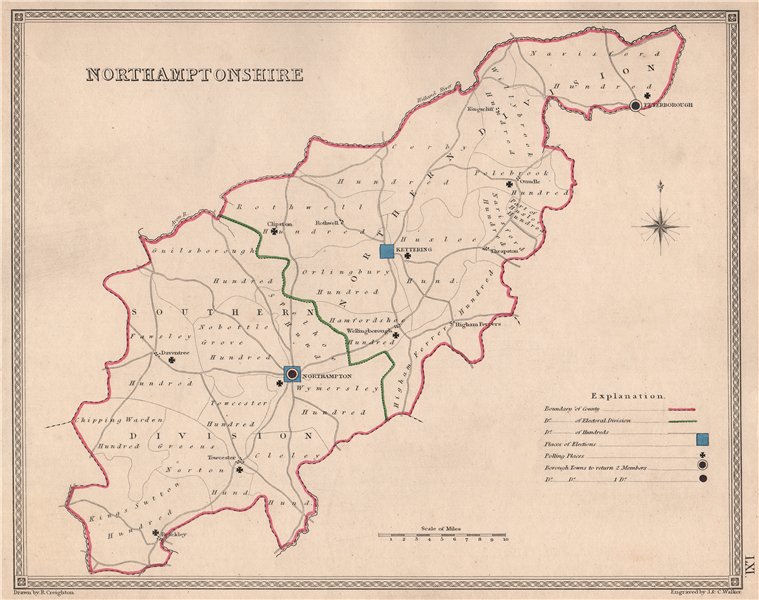Associate Product NORTHAMPTONSHIRE antique county map by CREIGHTON/WALKER. Electoral 1835