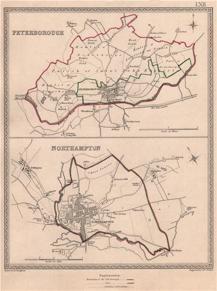 Associate Product EAST MIDLANDS TOWNS. PeterNorthampton plans. CREIGHTON/WALKER 1835 old map