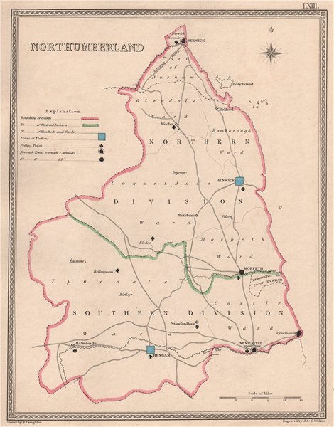 Associate Product NORTHUMBERLAND antique county map by CREIGHTON/WALKER. Electoral 1835 old