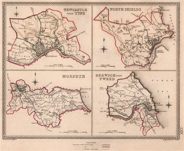 Associate Product NORTHUMBERLAND TOWNS.Newcastle-upon-Tyne North Shields Morpeth Berwick 1835 map