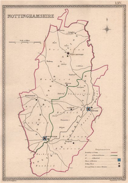 Associate Product NOTTINGHAMSHIRE antique county map by CREIGHTON/WALKER. Electoral 1835 old