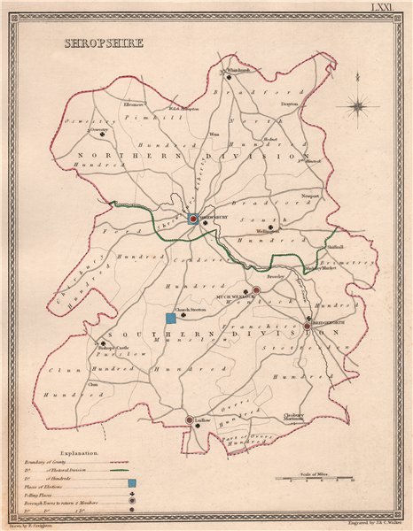 Associate Product SHROPSHIRE antique county map by CREIGHTON/WALKER. Electoral 1835 old