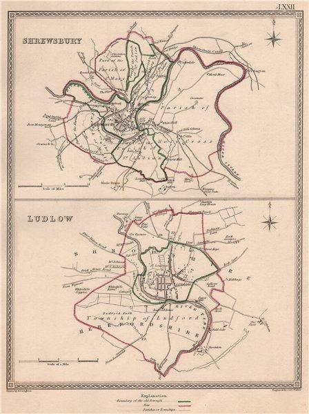 Associate Product SHROPSHIRE TOWNS. Shrewsbury Ludlow borough plans. CREIGHTON/WALKER 1835 map