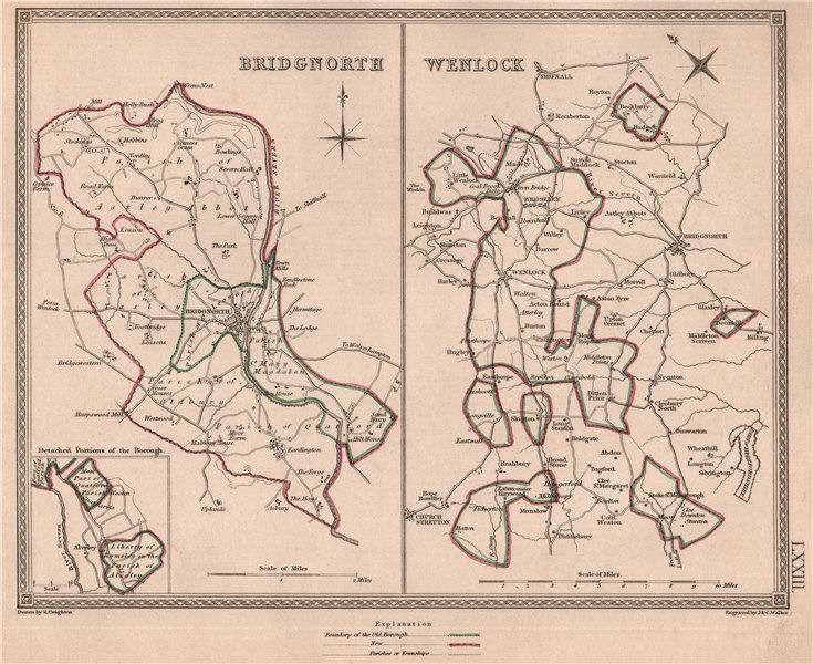 Associate Product SHROPSHIRE TOWNS. Bridgnorth & Wenlock plans by CREIGHTON/WALKER 1835 old map