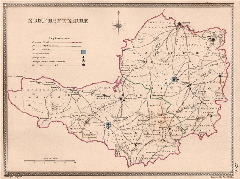 Associate Product SOMERSETSHIRE antique county map by CREIGHTON/WALKER. Electoral 1835 old