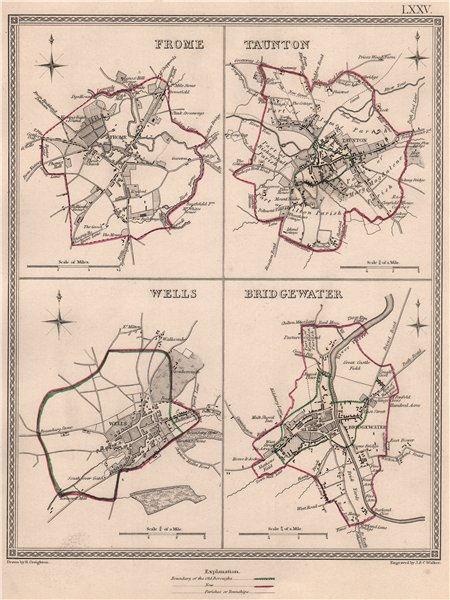 Associate Product SOMERSET TOWNS. Frome Taunton Wells Bridgewater. CREIGHTON/WALKER 1835 old map