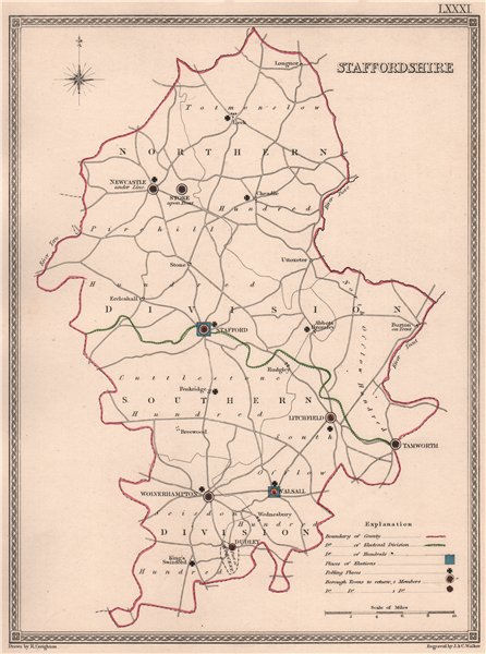 Associate Product STAFFORDSHIRE antique county map by CREIGHTON/WALKER. Electoral 1835 old