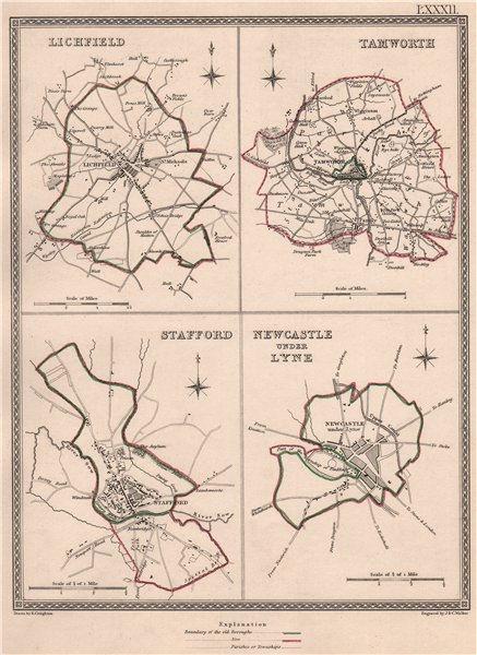 STAFFORDSHIRE TOWNS. Lichfield Tamworth Stafford Newcastle-under-Lyne 1835 map