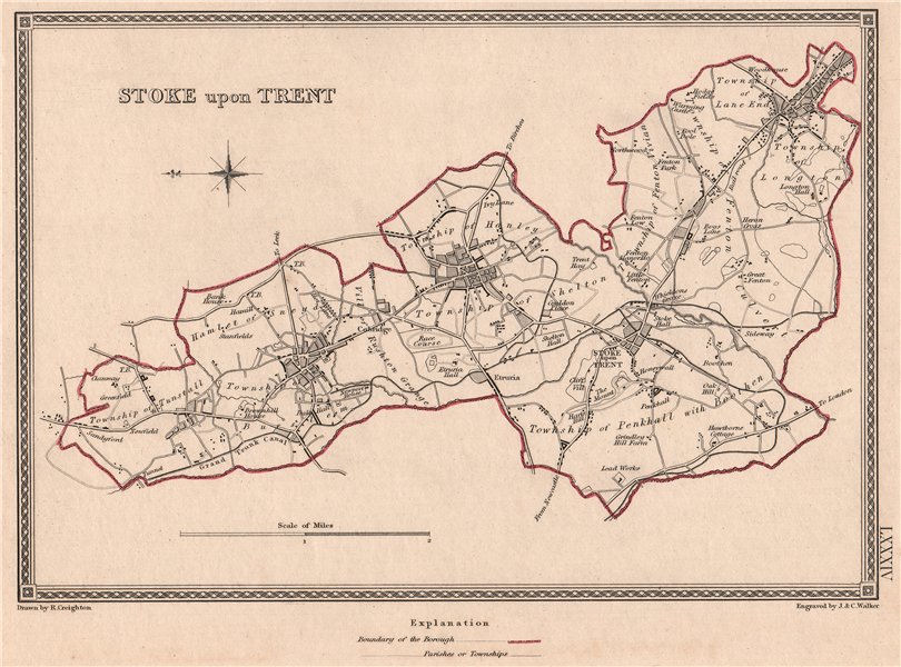 Associate Product STOKE UPON TRENT town & borough plan. Staffordshire. CREIGHTON/WALKER 1835 map