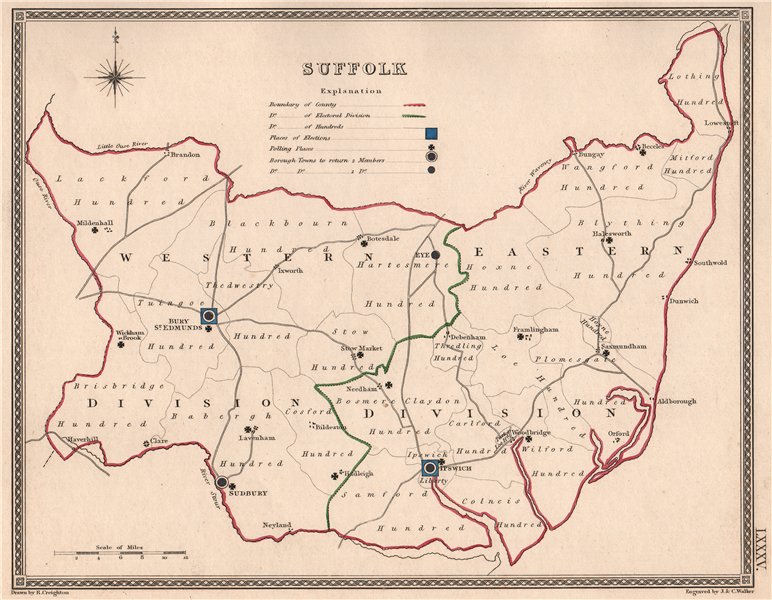 Associate Product SUFFOLK antique county map by CREIGHTON/WALKER. Electoral 1835 old
