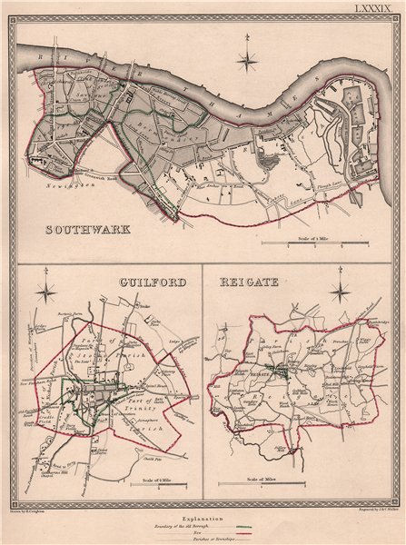 Associate Product SURREY TOWNS. Southwark Guildford Reigate plans. CREIGHTON/WALKER 1835 old map