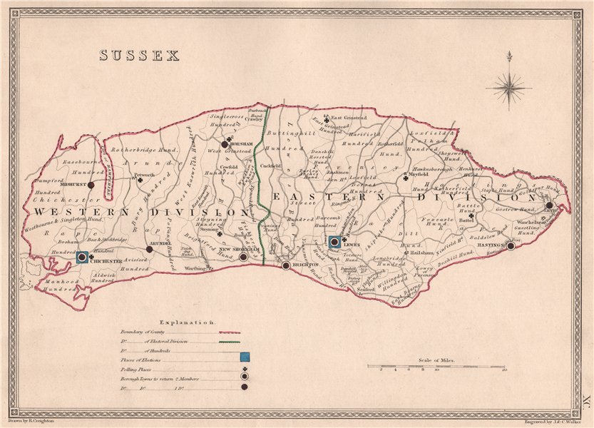Associate Product SUSSEX antique county map by CREIGHTON/WALKER. Electoral 1835 old