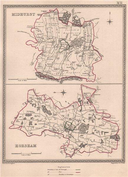 Associate Product SUSSEX TOWNS. Midhurst Horsham borough plans. CREIGHTON/WALKER 1835 old map