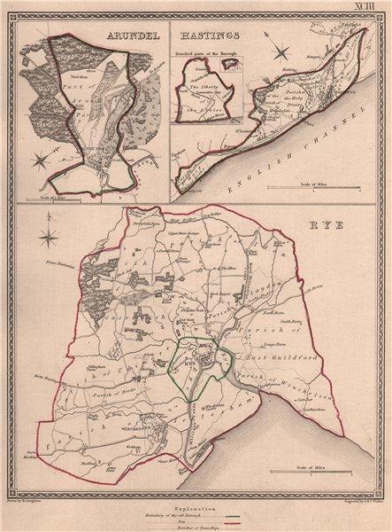 Associate Product SUSSEX TOWNS. Arundel Hastings Rye borough plans. CREIGHTON/WALKER 1835 map