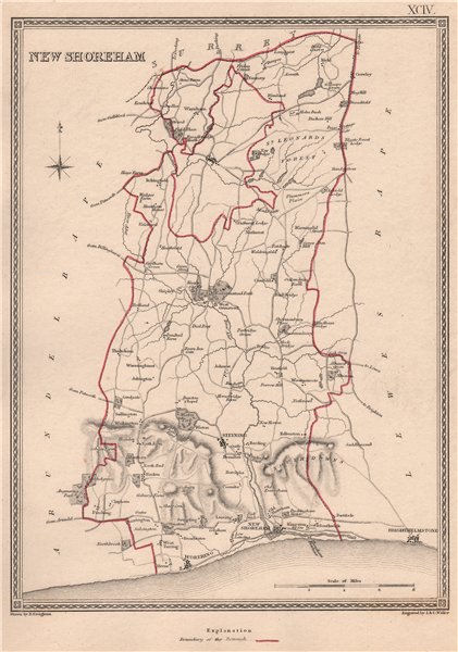 Associate Product SHOREHAM-BY-SEA borough plan. Sussex. CREIGHTON/WALKER 1835 old antique map