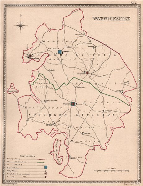 Associate Product WARWICKSHIRE antique county map by CREIGHTON/WALKER. Electoral 1835 old