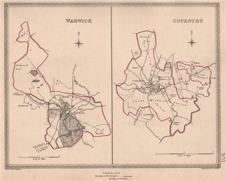 Associate Product WARWICKSHIRE TOWNS. Warwick Coventry borough plans. CREIGHTON/WALKER 1835 map