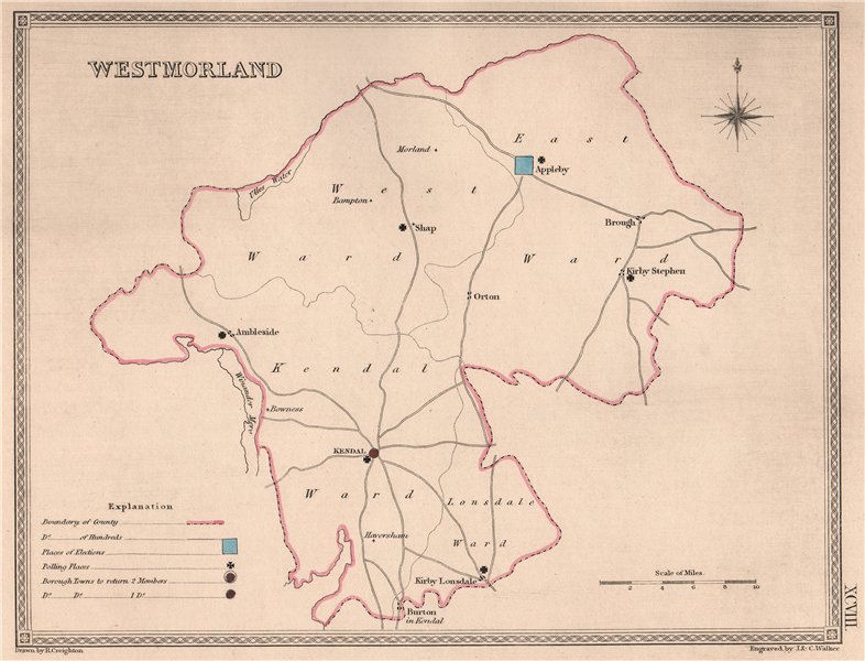 Associate Product WESTMORLAND antique county map by CREIGHTON/WALKER. Cumbria. Electoral 1835