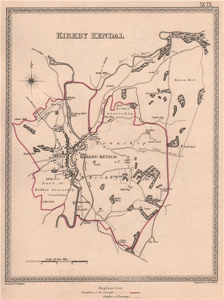 Associate Product KIRKBY KENDAL town & borough plan. Cumbria. CREIGHTON/WALKER 1835 old map