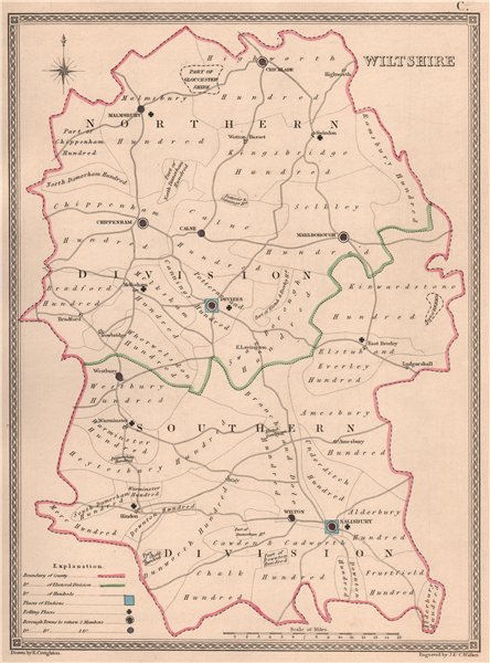 Associate Product WILTSHIRE antique county map by CREIGHTON/WALKER. Electoral 1835 old