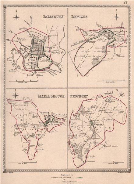 Associate Product WILTSHIRE TOWNS. Salisbury Devizes MarlWestbury plans.CREIGHTON/WALKER 1835 map