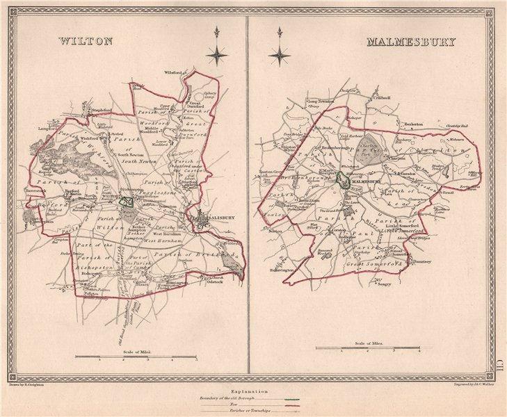 Associate Product WILTSHIRE TOWNS. Wilton Malmesbury borough plans. CREIGHTON/WALKER 1835 map