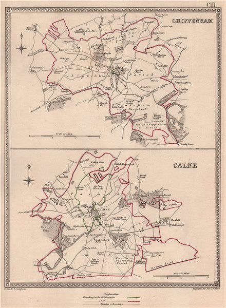Associate Product WILTSHIRE TOWNS. Chippenham Calne borough plans. CREIGHTON/WALKER 1835 old map