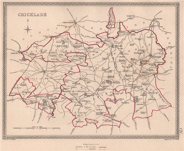 Associate Product CRICKLADE borough plan. Wiltshire towns. CREIGHTON/WALKER 1835 old antique map
