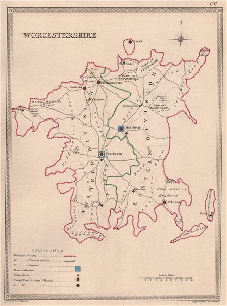 Associate Product WORCESTERSHIRE antique county map by CREIGHTON/WALKER. Electoral 1835 old
