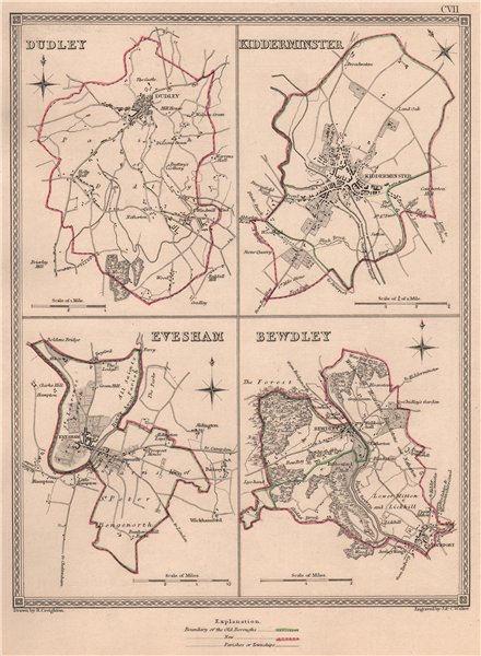 Associate Product WORCESTERSHIRE TOWNS. Dudley Kidderminster Evesham Bewdley. CREIGHTON 1835 map