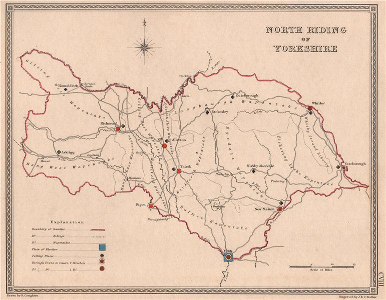 Associate Product NORTH RIDING OF YORKSHIRE antique county map by CREIGHTON/WALKER. Electoral 1835