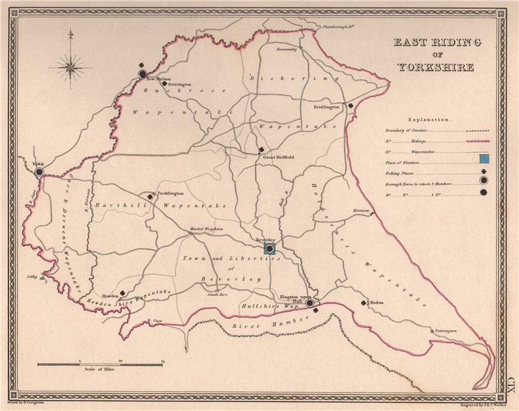 Associate Product EAST RIDING OF YORKSHIRE antique county map by CREIGHTON/WALKER. Electoral 1835