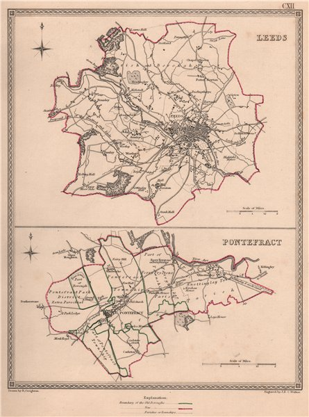 WEST YORKSHIRE TOWNS. Leeds Pontefract borough plans. CREIGHTON/WALKER 1835 map