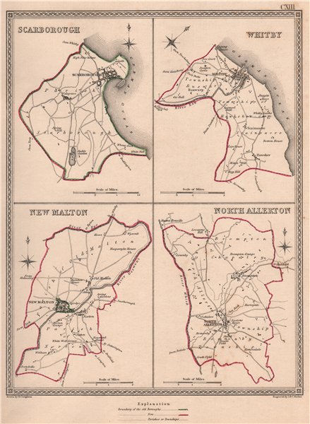 Associate Product N YORKSHIRE TOWNS. ScarWhitby New Malton Northallerton. CREIGHTON 1835 old map