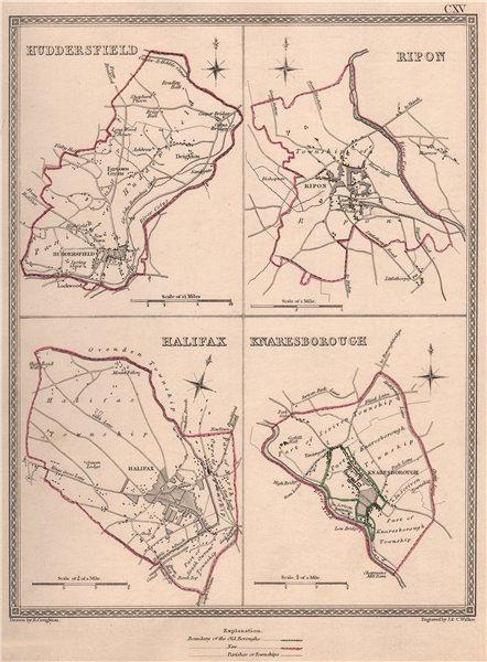Associate Product W YORKSHIRE TOWNS. Huddersfield Ripon Halifax Knaresborough. CREIGHTON 1835 map