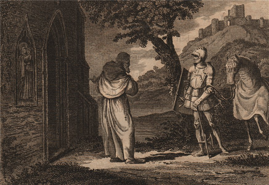Associate Product GROSE'S ANTIQUITIES. Knight in armour with horse. Monk/priest 1776 old print