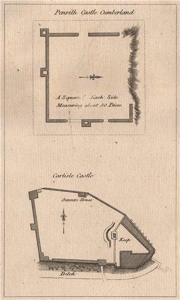 Associate Product PENRITH CASTLE, Cumberland; CARLISLE CASTLE, Cumbria. GROSE 1776 old print