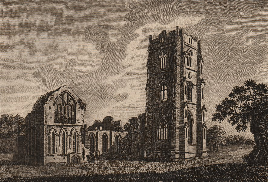 Associate Product FOUNTAINS ABBEY, Yorkshire. Plate 2. GROSE 1776 old antique print picture