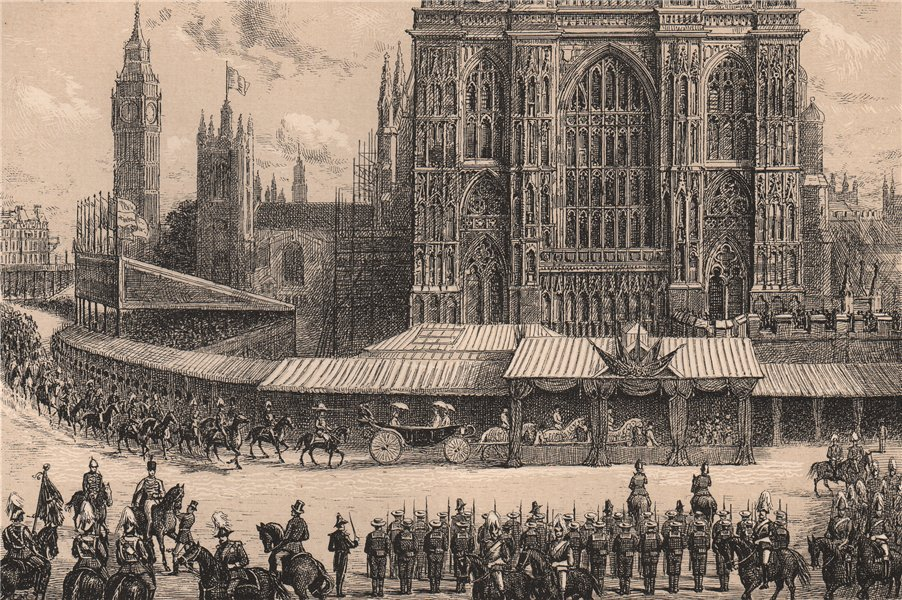Associate Product Arrival of the Queen at Westminster Abbey, 21st June, 1887. London 1890 print
