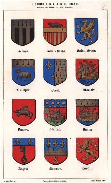 Associate Product Rennes Saint-Malo Saint-Brieuc Quimper Brest Morlaix Vannes 1844 old print