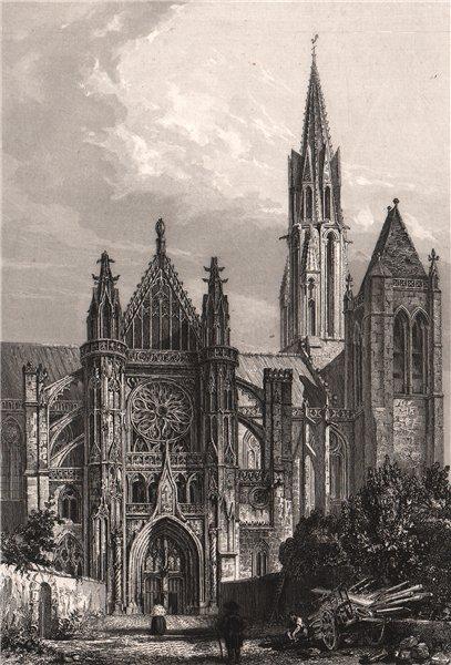 Associate Product CATHÉDRALE DE SENLIS. Oise 1844 old antique vintage print picture