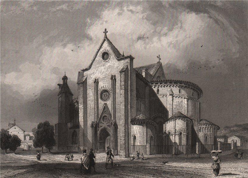Associate Product AGEN. Église St. Caprais. France 1844 old antique vintage print picture