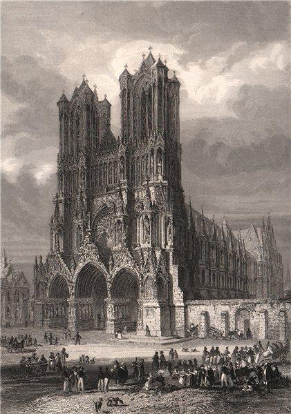 CATHÉDRALE de REIMS. Marne 1844 old antique vintage print picture